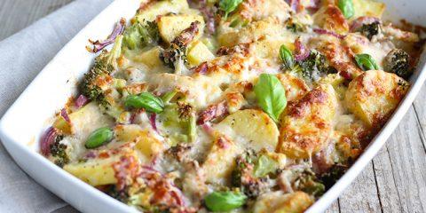 aardappelgratie met broccoli
