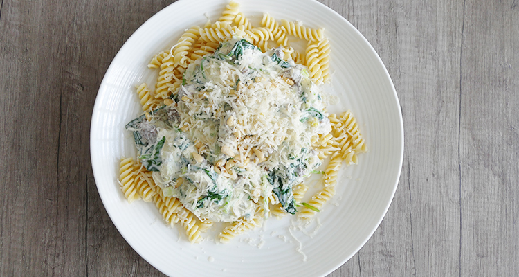 pasta gehakt spinazie