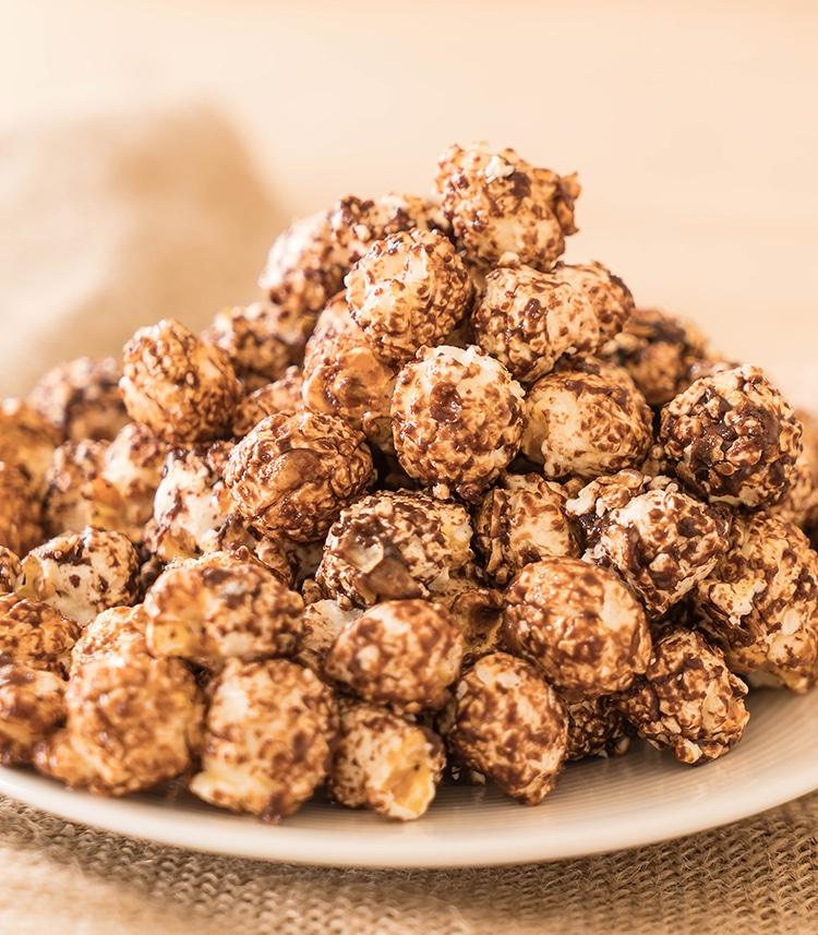 popcorn met chocolade